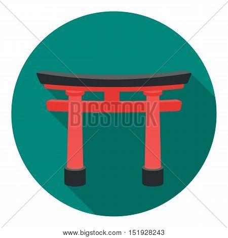 Torii icon in flat style isolated on white background. Religion symbol vector illustration.