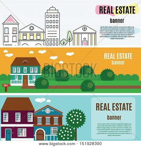 Real estate horizontal banners. House, cottage, townhouse, home vector illustration, web banners for agency an other estate business