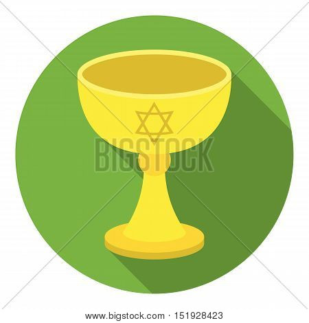 Wine cup icon in flat style isolated on white background. Religion symbol vector illustration.