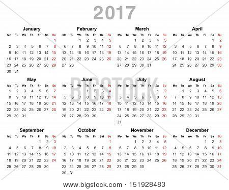 Color vector illustration of 2017 year annual calendar (Monday first, English) isolated on white background