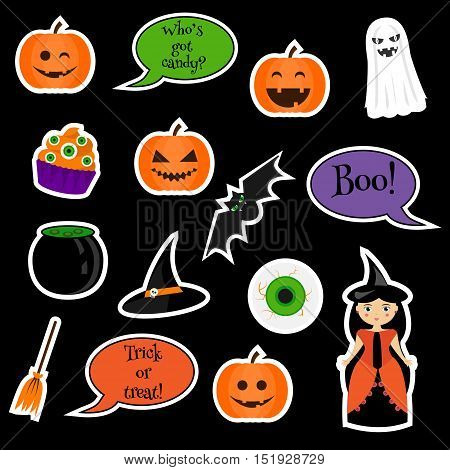 Halloween vector stickers, patches, badges. Traditional symbols pumpkin, ghost, bat, witch and other. Design elements for applications, children stickers patches badges scrapbooking
