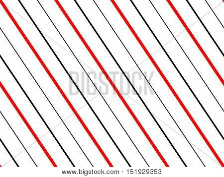 Seamless pattern of red & black lines on white background. Nautical style design of diagonal sailor stripes. Classic pattern for marine look textiles, bedding sets, tablecloth prints, gift wrap.