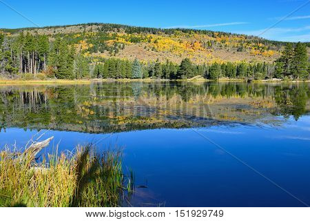 Mountains And Alpine Lake With Reflection In The Fall
