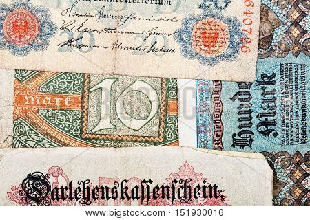 Old German money notes as a background