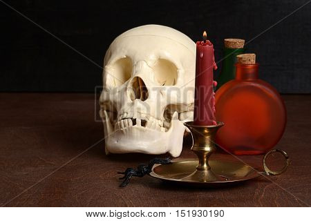 closeup of a candle with human skull