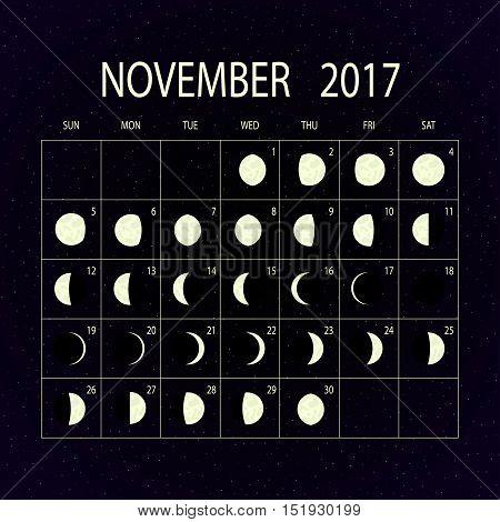 Moon phases calendar for 2017 on night sky. November. Vector illustration.