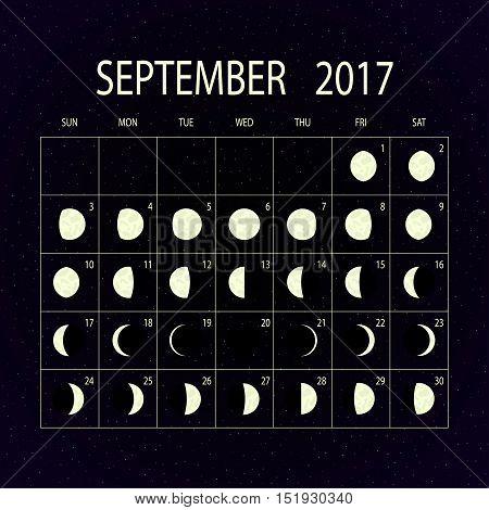 Moon phases calendar for 2017 on night sky. September. Vector illustration.