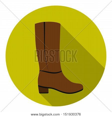 Knee high boots icon in flat style isolated on white background. Shoes symbol vector illustration.