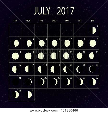 Moon phases calendar for 2017 on night sky. July. Vector illustration.