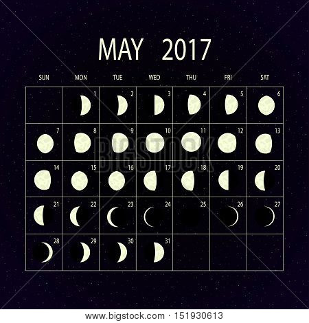 Moon phases calendar for 2017 on night sky. May. Vector illustration.