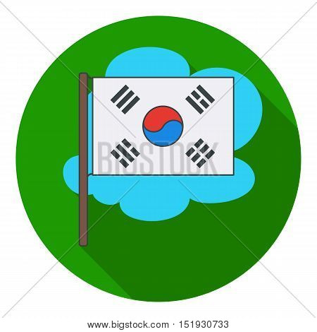 Flag of South Korea icon in flat style isolated on white background. South Korea symbol vector illustration.