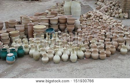 Unfinished pots at the streets of Isfahan Iran