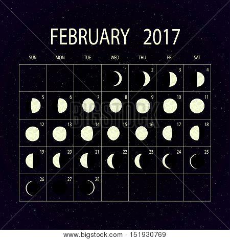Moon phases calendar for 2017 on night sky. February. Vector illustration.