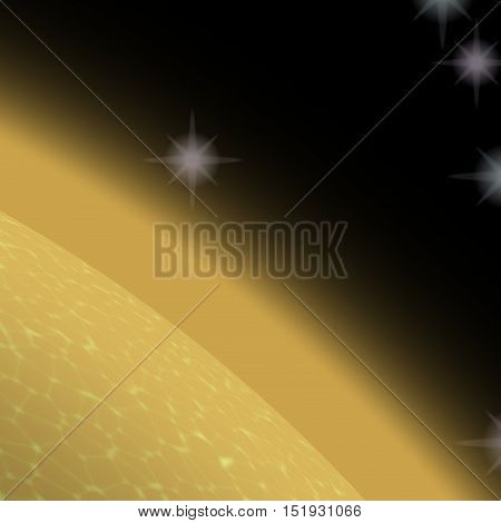 Abstract shining yellow planet in deep space with stars