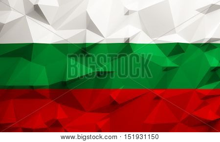 Low poly illustrated Bulgarian flag. 3d rendering.