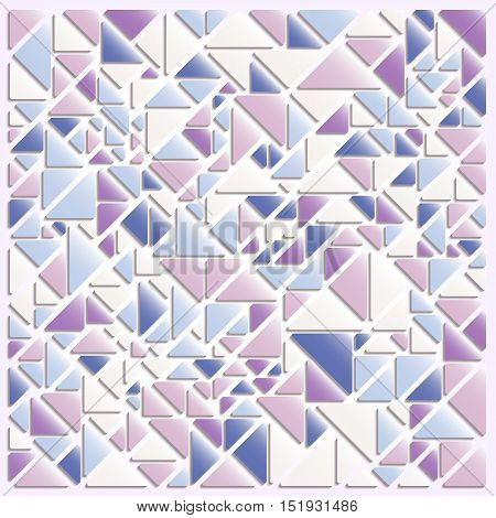 Abstract mosaic style background. Triangles in pink and blue color combination. Vector illustration.