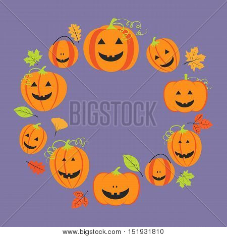 Cute frame for halloween with pumpkins and colorful leaves. Vector illustration