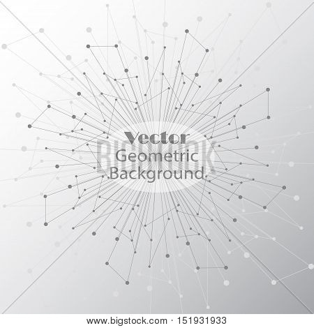 Geometric pattern with connected lines and dots. Vector illustration.