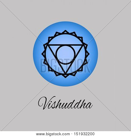 Vishuddha.Throat chakra. Symbol of the fifth human chakra. Vector illustration. Element human energy system. Yogameditationreiki and buddhism color simbol.