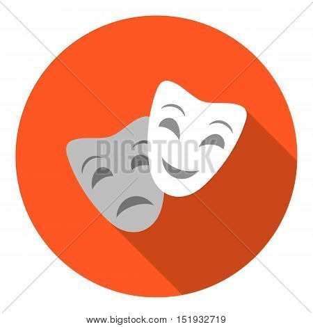 Theater masks icon in flat style isolated on white background. Theater symbol vector illustration