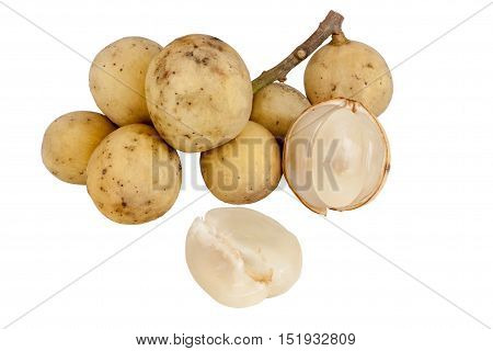 southern langsat fruit isolated on white with work paths