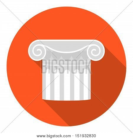 Column icon in flat style isolated on white background. Theater symbol vector illustration