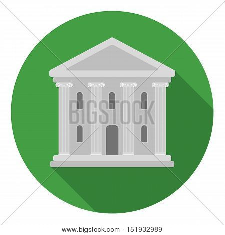Theatre building icon in flat style isolated on white background. Theater symbol vector illustration