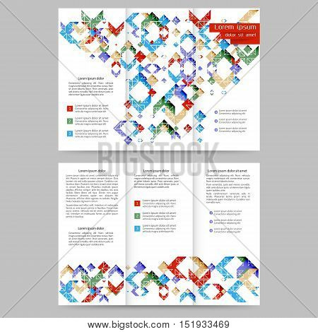 Color tri fold brochure design with geometric elements
