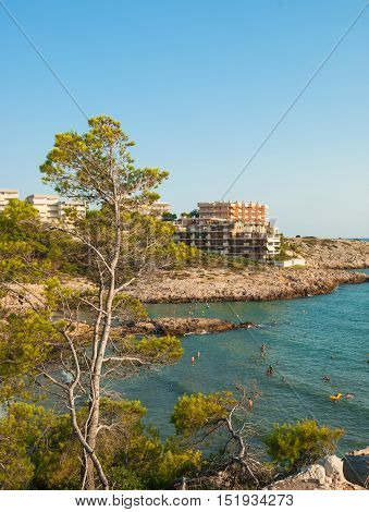 The beach and the hotels on the Mediterranean coast in Salou in Spain.