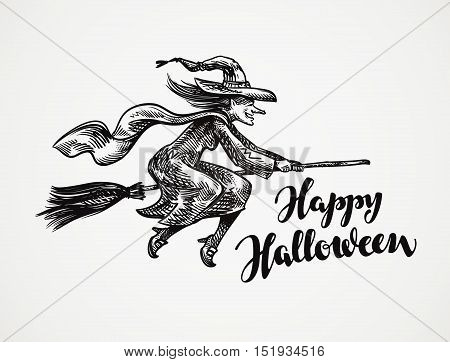 Halloween. Old witch flying on broomstick sketch. Vector illustration