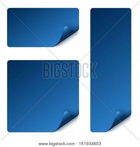 collection of stickers with turned over corner colored blue
