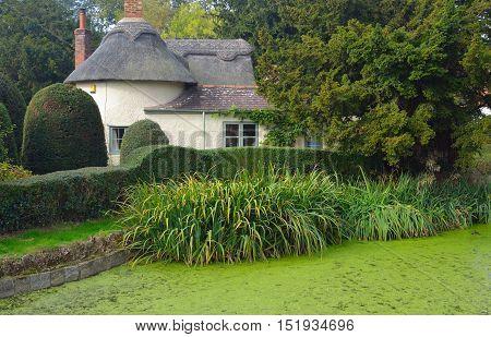 Northill, Bedfordshire, England - October 15, 2016: Village pond and thatched cottage Northill Bedfordshire.