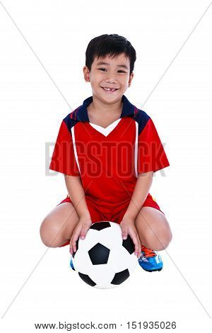 Young Asian Soccer Player With Football Smiling And Holding Soccer Ball. Studio Shot.