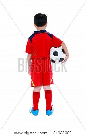 Back View Of Asian Soccer Player With Football. Studio Shot. Isolated.