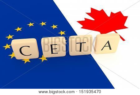 Letter Tiles: CETA between Canada and the European Union with Canadian and EU flag 3d illustration