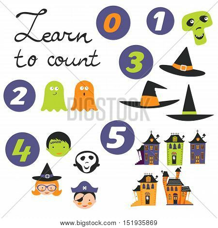 Learn to count Halloween related cute collection. Vector illustration