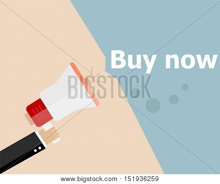 Flat Design Business Illustration Concept. Buy Now Digital Marketing Business Man Holding Megaphone