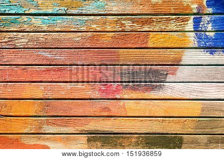 Colorful old wood background autumnal pastel tones - Weathered planks in horizontal grunge wall with peeling paint
