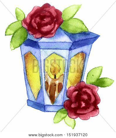 watercolor sketch of Lantern tattoo on white background