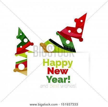 Christmas geometric abstract sale promo banner. Vector illustration