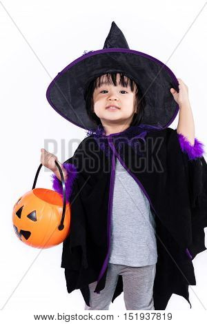 Asian Chinese Liitle Girl Dressed As A Witch