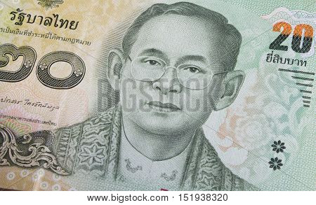 Close Up Of Thai Banknote, Thai Bath With The Image Of Thai King. Thai Banknote Of 20 Thai Baht. Tha