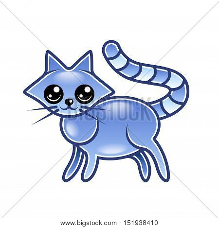 Cute cartoon cat isolated on white vector illustration
