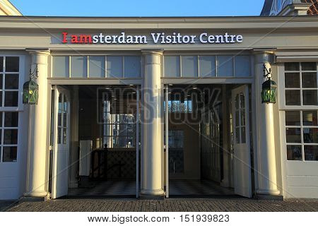 AMSTERDAM, NETHERLANDS - MAY 3, 2016: Entrance of The Amsterdam Visitor Centre near Amsterdam Central station, Amsterdam, Netherlands.