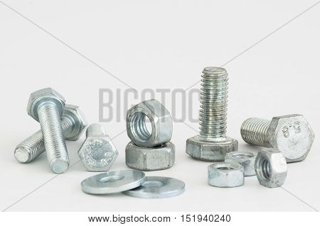 bolt washer and nut on a white background