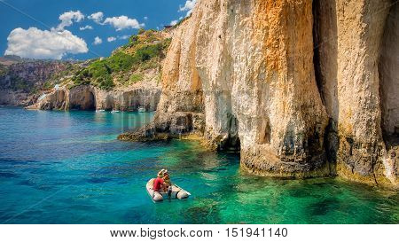 Blue caves on Zakynthos island, Greece. Famous blue caves view on Zante