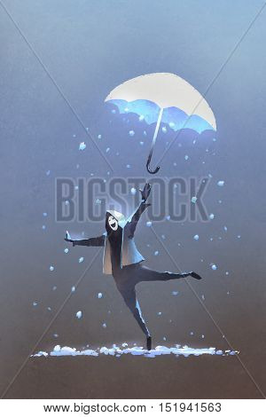 happy man throws up a fantasy umbrella with falling snow, winter is coming, illustration painting