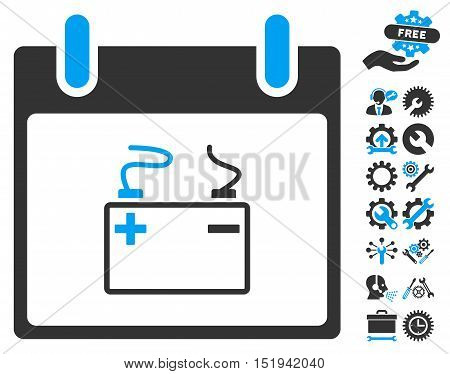 Accumulator Calendar Day icon with bonus options images. Vector illustration style is flat iconic symbols, blue and gray, white background.