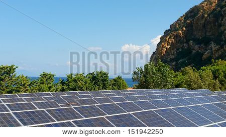 Solar panels on roof of buildings at Sicily