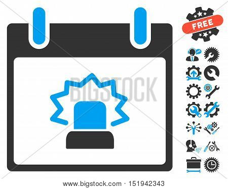 Alert Calendar Day pictograph with bonus options graphic icons. Vector illustration style is flat iconic symbols, blue and gray, white background.